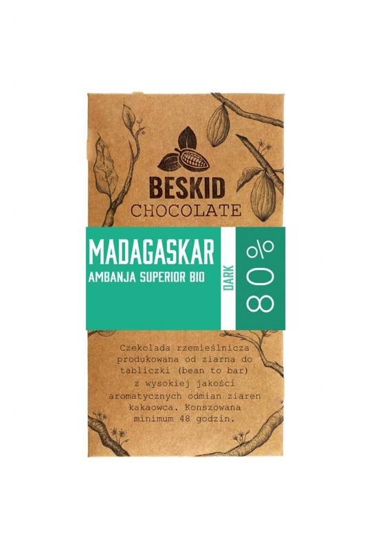 Czekolada ciemna single origin Beskid Chocolate Madagaskar Ambanja Superior Bio 80% 50g